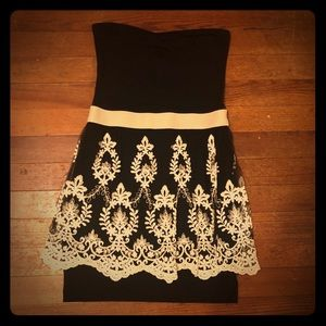 Strapless Black & Cream Lace Dress